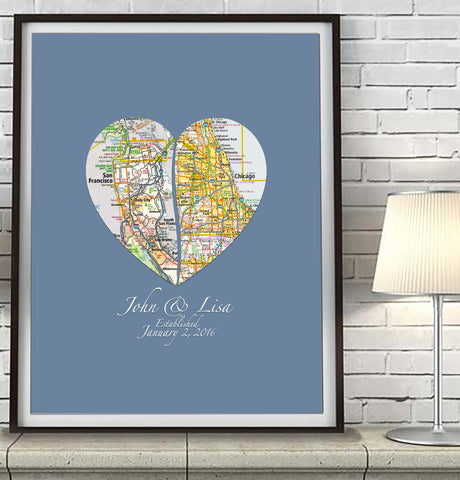 Custom Wedding Vintage 2 Heart Maps ART PRINT
