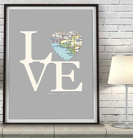 Custom Wedding LOVE Heart Map ART PRINT