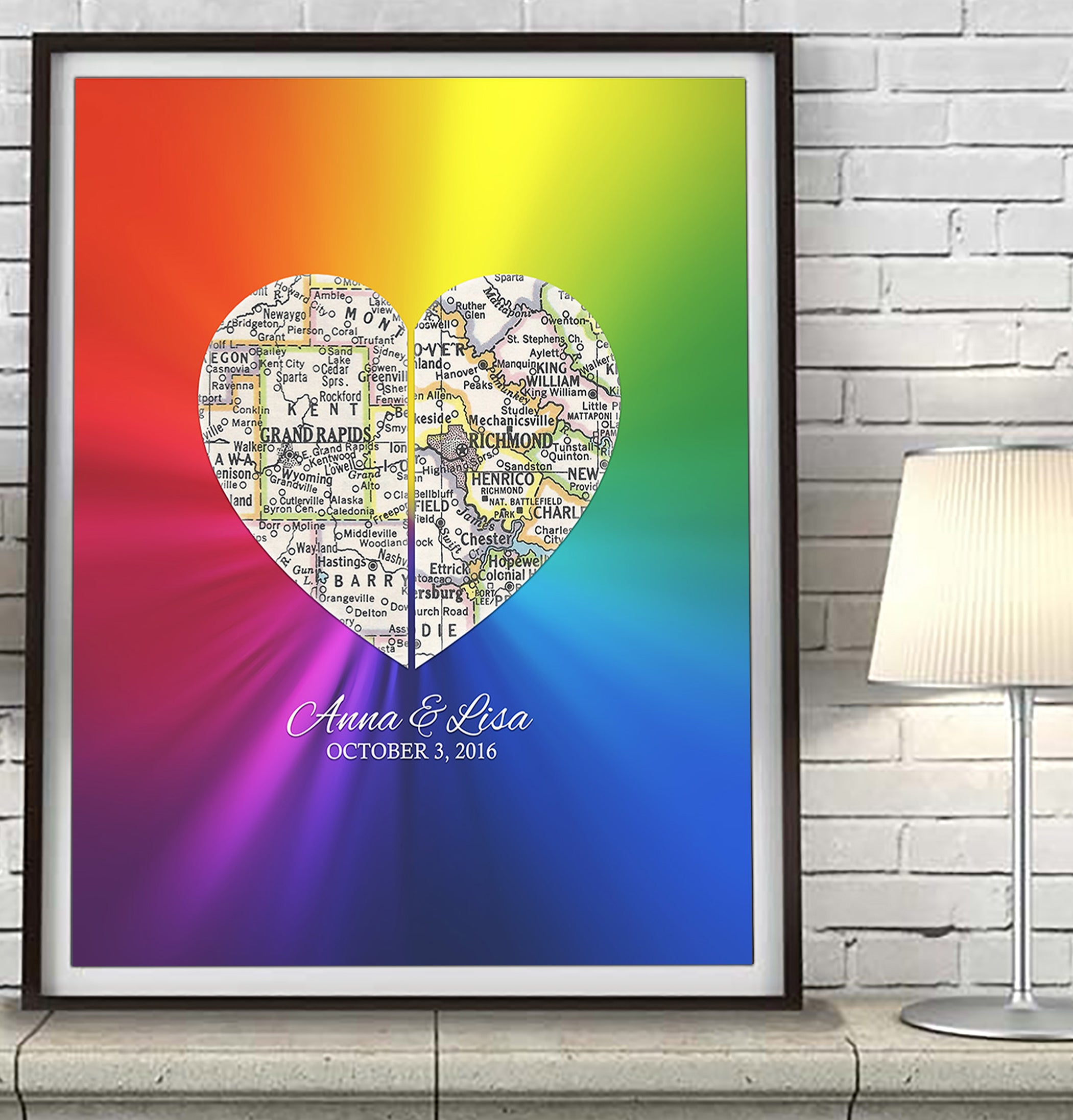 Rainbow Gay LGBTQ Custom Wedding Heart 2 Map ART PRINT