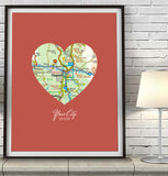 Custom City/State Heart Map - Couples- Engagement -Anniversary ART PRINT
