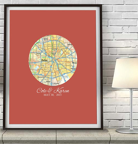 Custom Wedding Circle Map ART PRINT