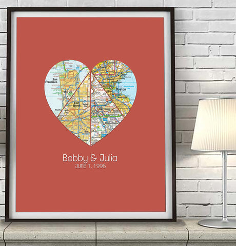 Custom Wedding 4 Heart Map Art Print