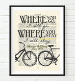 Where You Go, I Will Go - Ruth 1:16 Personalized Vintage Bible Verse ART PRINT