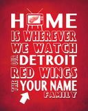 "Detroit Red Wings hockey Personalized ""Home is"" Art Print Poster Gift"