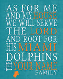 "Miami Dolphins Personalized ""As for Me"" Art Print"