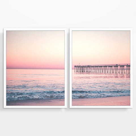 Sunrise Pier Dock Beach Photography Prints, Set of 2