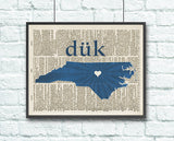 Duke Blue Devils University Inspired Phonics/Phonetic ART PRINT Using Old Dictionary Pages, Unframed