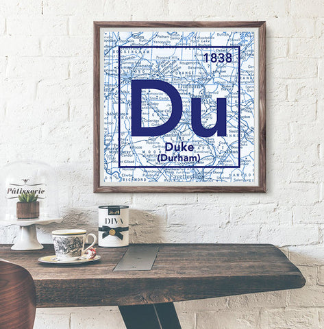 Duke University Blue Devils Durham North Carolina - Vintage Periodic Map ART PRINT -Unframed