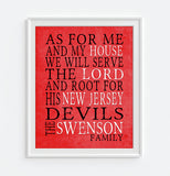 "New Jersey Devils Personalized ""As for Me"" Art Print"