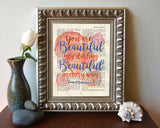 You are Beautiful my Darling - Song of Solomon 4:7- Vintage Bible Highlighted Verse Scripture Page- Christian Wall ART PRINT