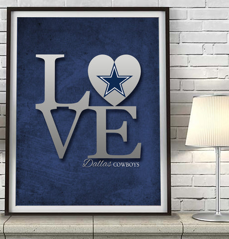 "Dallas Cowboys ""Love"" Art Print Poster Gift"