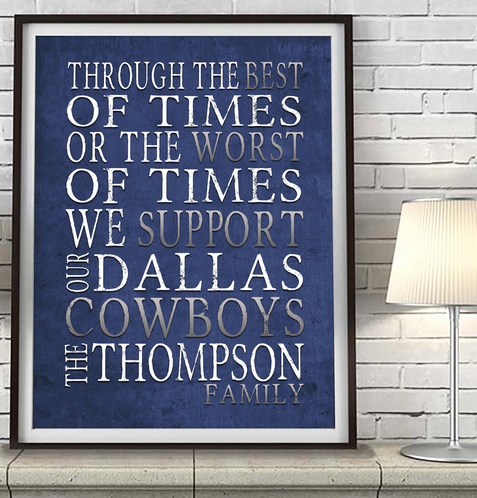 "Dallas Cowboys Personalized ""Best of Times"" Art Print Poster Gift"