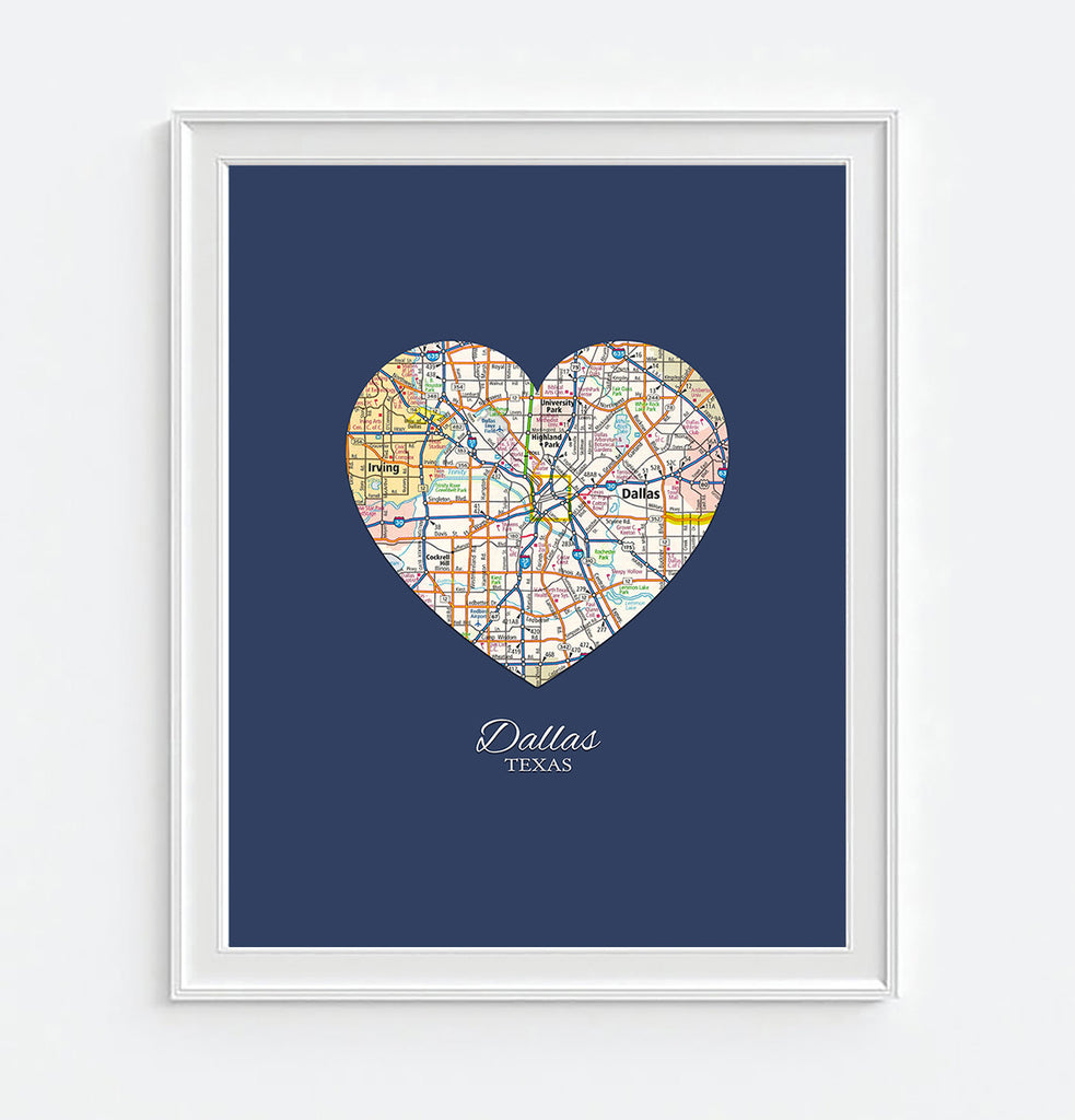 Dallas Texas Heart Map ART PRINT – Parody Art Prints