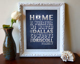 "Dallas Cowboys inspired Personalized Customized Art Print- ""Home Is"" Parody- Retro, Vintage-  Unframed Print"