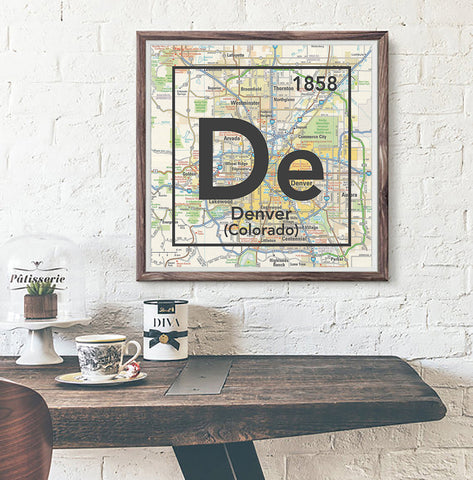 Denver Colorado De- Vintage Periodic Map ART PRINT- unframed