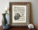 When you go through deep waters- Isaiah 43:2 -Vintage Bible Highlighted Verse Scripture Page- Christian Wall ART PRINT