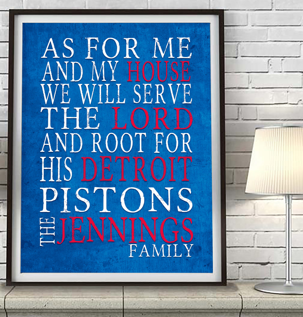 "Detroit Pistons basketball  Personalized ""As for Me"" Art Print"