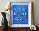 "Detroit Lions personalized ""I Love You to Detroit and Back"" Art Print Poster Gift"