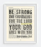 Be Strong and Courageous-Deuteronomy 31:6-Vintage Bible Page Christian ART PRINT