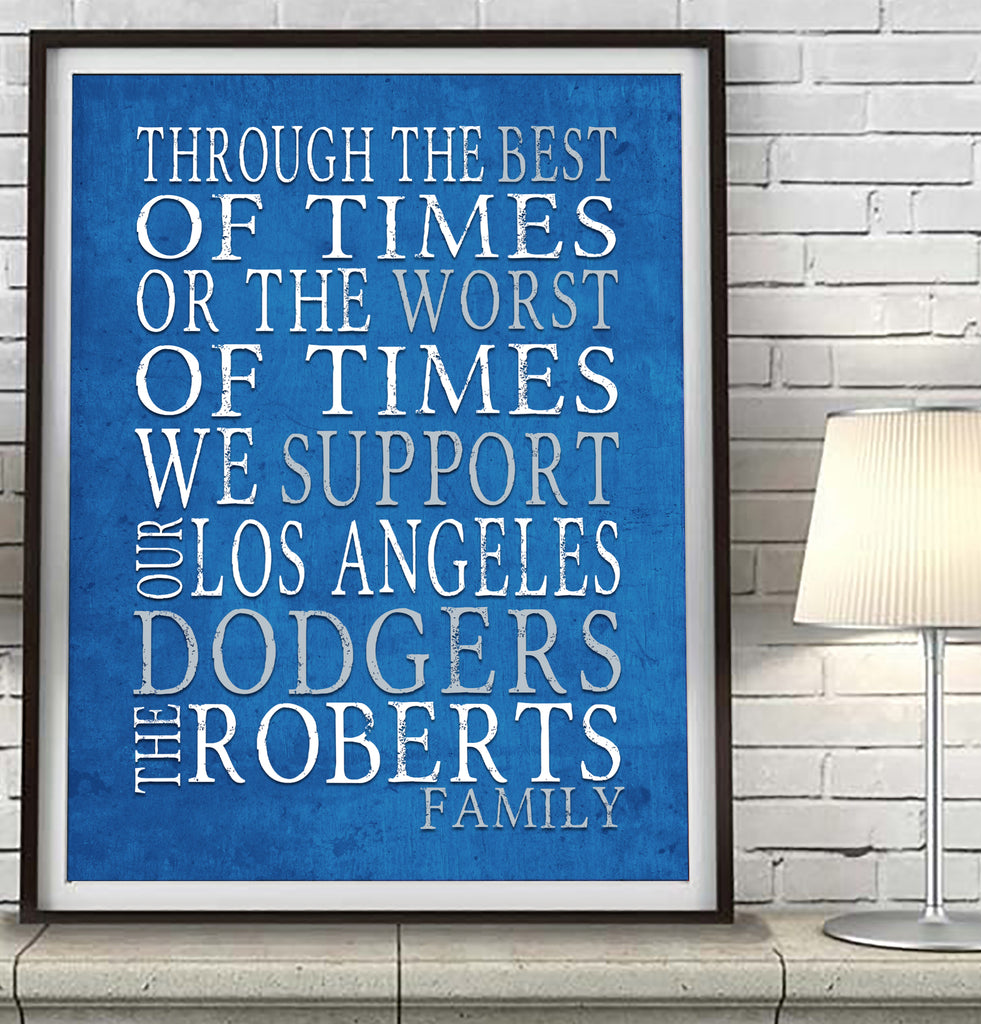 "Los Angeles Dodgers Personalized ""Best of Times"" Art Print Poster Gift"