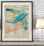 Miami Dolphins football inspired Art Print Dictionary - Christmas poster gift
