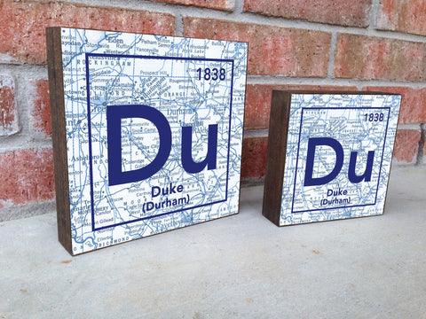 Duke Blue Devils- Periodic Map art print on Wooden Block