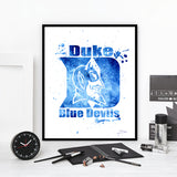 Duke University Blue Devils Watercolor Art Print Poster Gift
