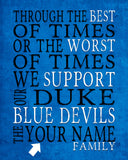 "Duke Blue Devils Personalized ""Best of Times"" Art Print Poster Gift"