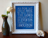 "Everton FC Football Club Personalized ""As for Me"" Art Print"