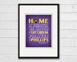 "East Carolina ECU Pirates Personalized ""Home is"" Art Print Poster Gift"