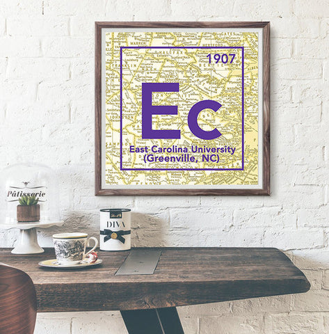 ECU East Carolina University Pirates Greenville North Carolina -Vintage Periodic Map ART PRINT -Unframed