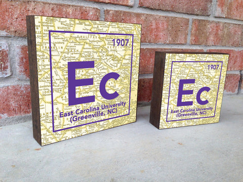ECU pirates- Periodic Map art print on Wooden Block