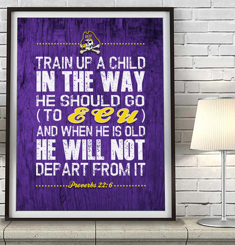 "East Carolina ECU Pirates ""Train Up A Child"" Art Print Poster Gift"