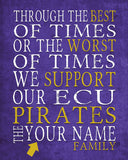 "ECU Pirates East Carolina Personalized Customized Art Print- ""Best of Times"" Parody- Charles Dickens-  Unframed Print"