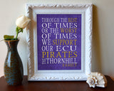 "ECU Pirates East Carolina Personalized ""Best of Times"" Art Print Poster Gift"