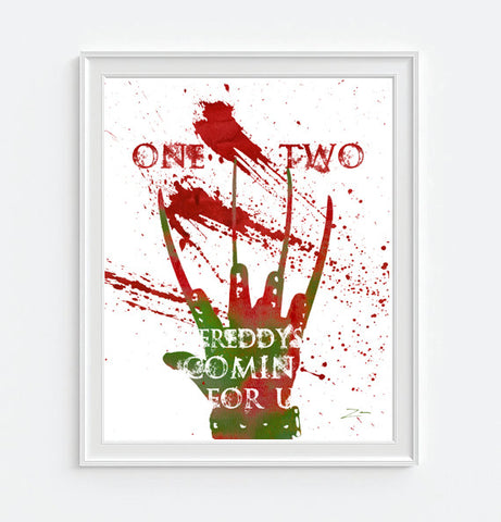Nightmare on Elm Street - Freddy Krueger - 80's Vintage Horror movie reproduction watercolor ink splattered ART PRINT