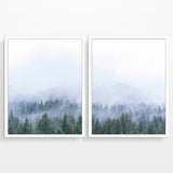 Foggy Forest Trees Mountain Landscape Fine Art Photography Prints, Set of 2