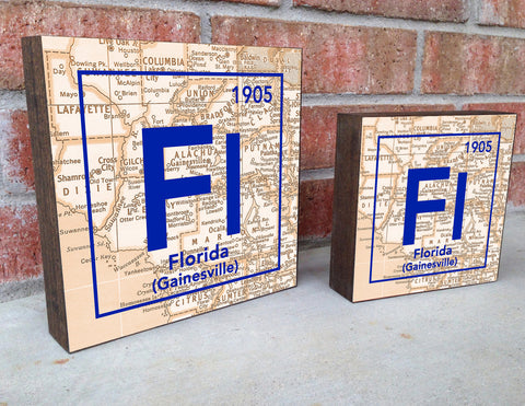 Florida Gators- Periodic Map art print on Wooden Block