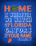 "Florida Gators UF inspired Personalized Customized Art Print- ""Home Is"" Parody- Retro, Vintage-  Unframed Print"