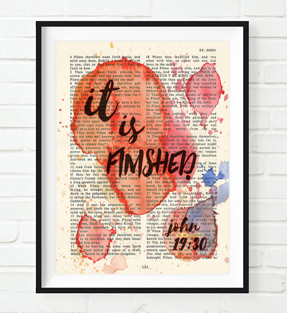 It is finished - John 19:30 - Vintage Bible Highlighted Verse Scripture Page- Christian Wall ART PRINT