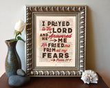 I Prayed to the Lord and He Answered Me - Psalm 34:4 Bible Verse Page Christian Art Print