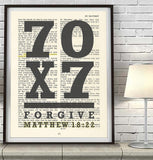 70 x 7 forgive - Matthew 18:22 - Bible Page ART PRINT