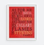 "Calgary Flames hockey Personalized ""As for Me"" Art Print"