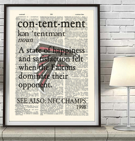 "Atlanta Falcons inspired ""Contentment"" ART PRINT Using Old Dictionary Pages, Unframed"