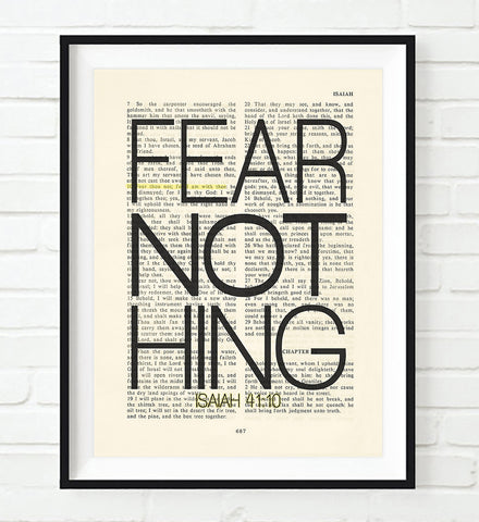 Fear Nothing- Isaiah 41:10 -Vintage Bible Highlighted Verse Scripture Page- Christian Wall ART PRINT