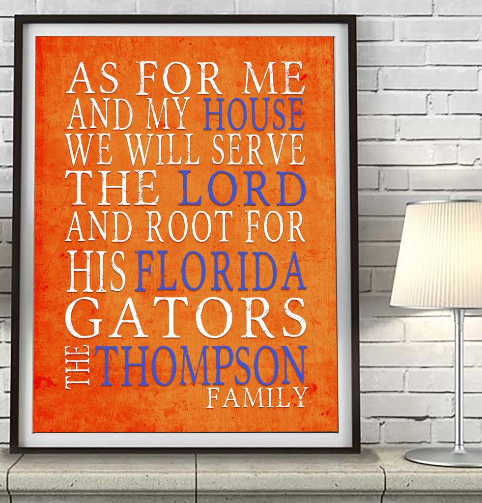 "Florida Gators UF personalized ""As for Me"" Art Print"