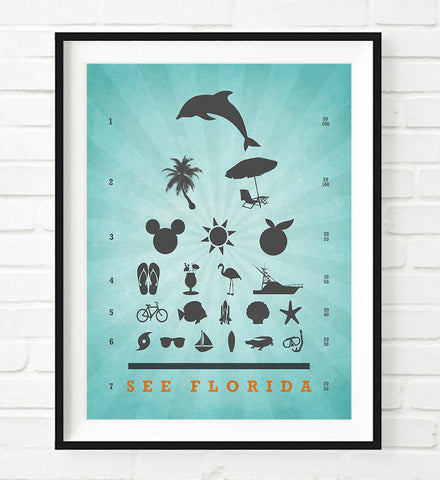 See Florida Eye Chart Art Print,  UNFRAMED, All Sizes