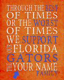 "Florida Gators UF Personalized Customized Art Print- ""Best of Times"" Parody- Charles Dickens-  Unframed Print"