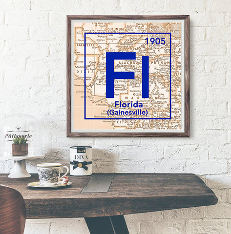 Florida Gators- University of Florida Gainesville -Vintage Periodic Map ART PRINT -Unframed