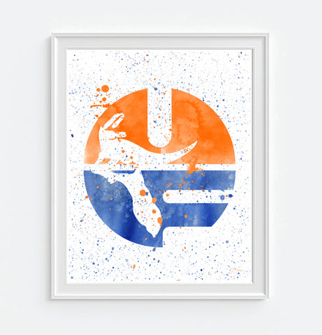 Florida Gators Watercolor Art Print Poster Gift